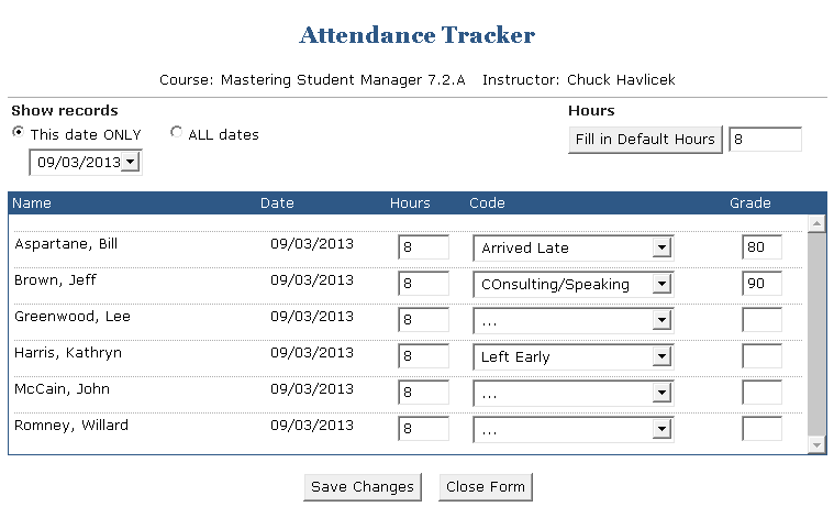 instructor attendance tracking