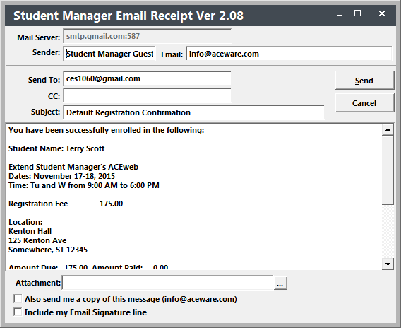 emailing confirmations receipts