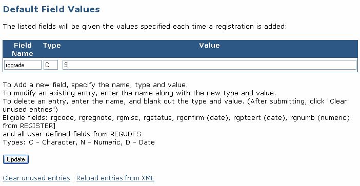 Entering Default Registration Field Values