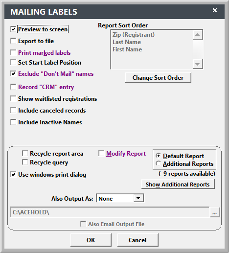 Report Options Screen